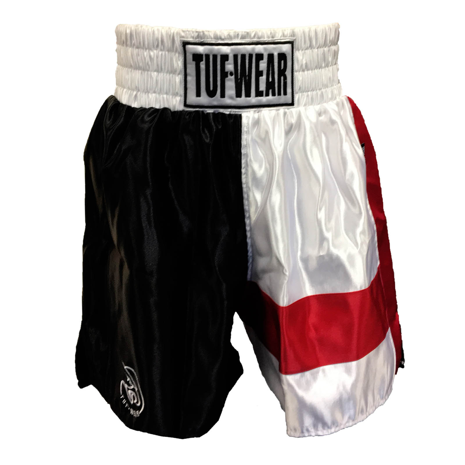 Red White Tuf Wear Mens Boxing St George Pro Shorts Black